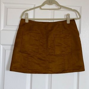 Faux-Suede Mini Skirt (with pockets!)